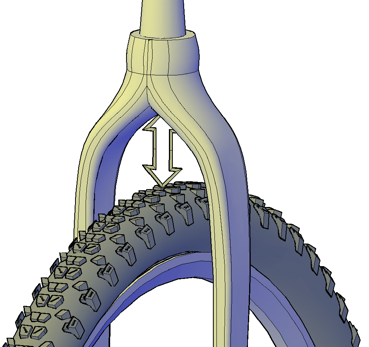 Image showing how to measure crown to typre clearance on front forks